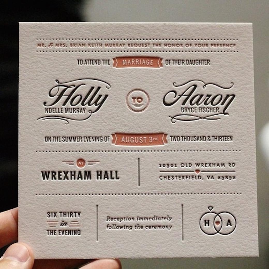 Letterpress Wedding Invitation 1