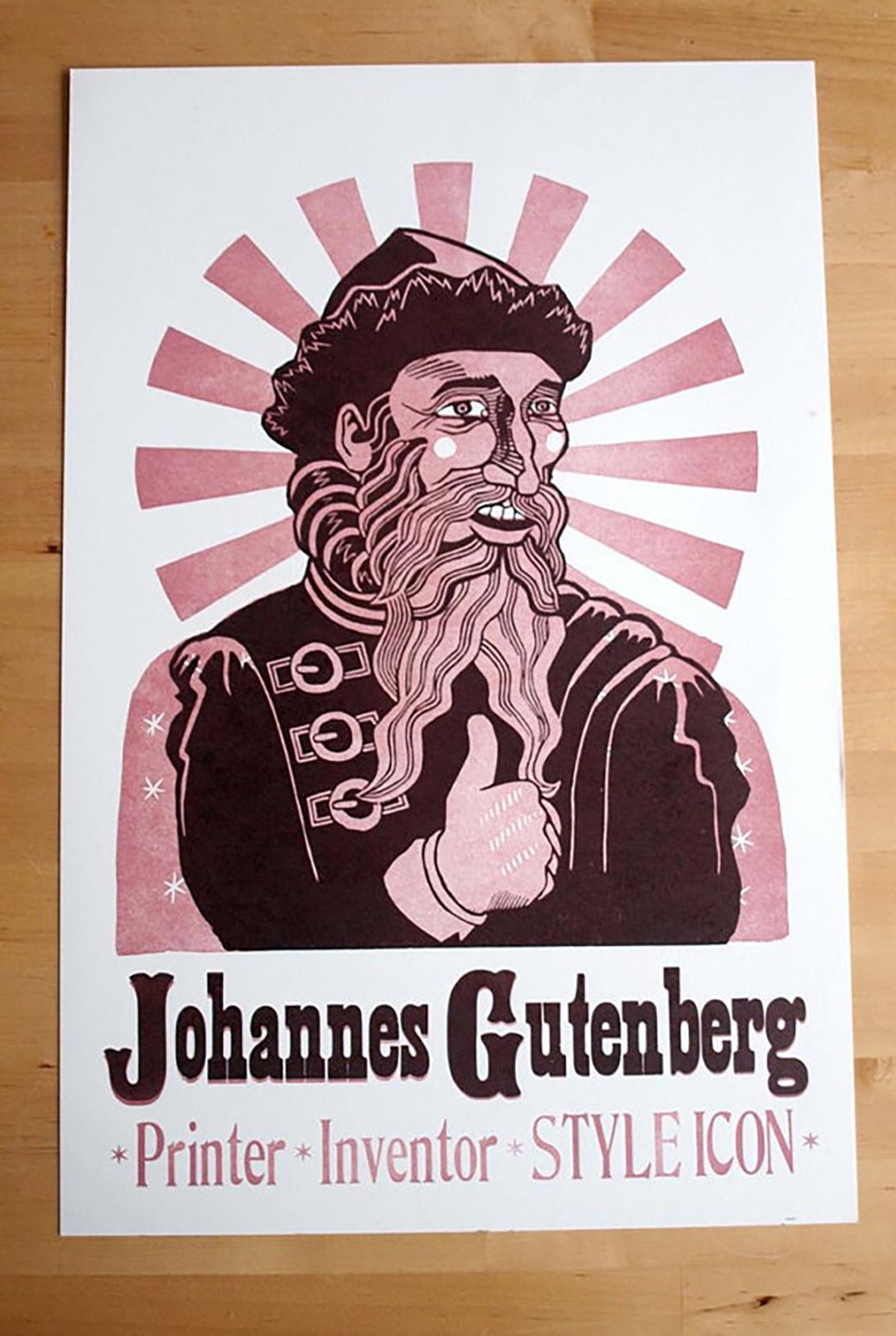 Letterpress Gutenberg Print