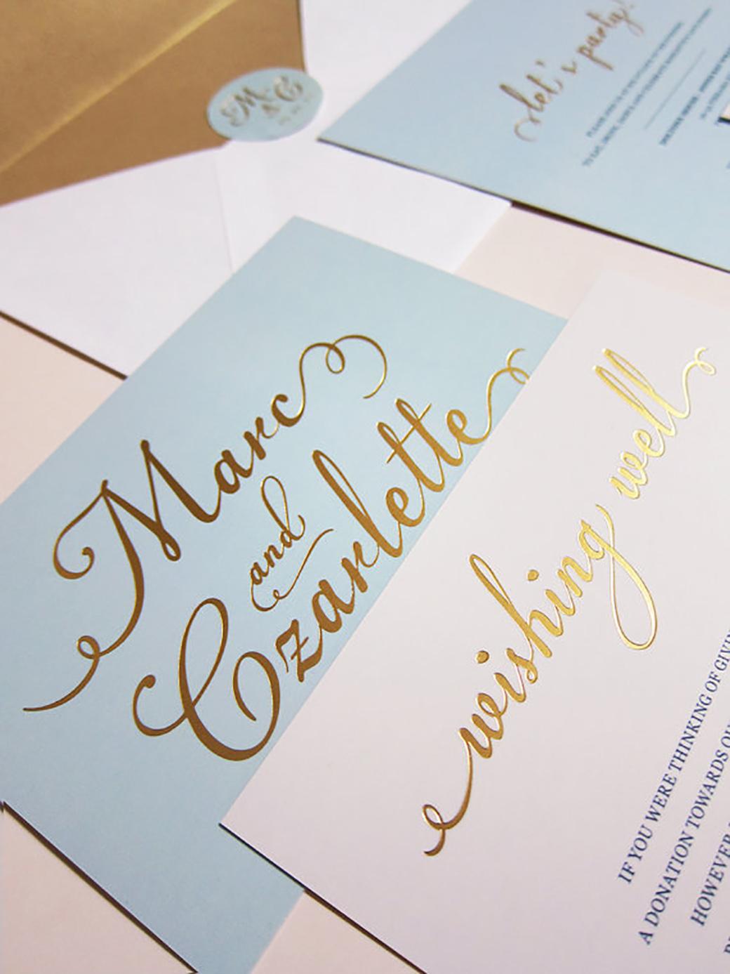 Gold foil wedding invitations 6