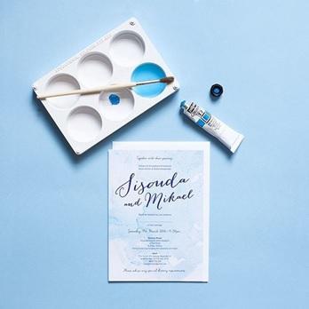Watercolour wedding invitation example 1