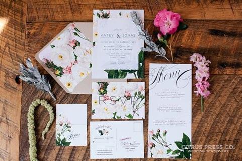 Botanical wedding invitation example 1