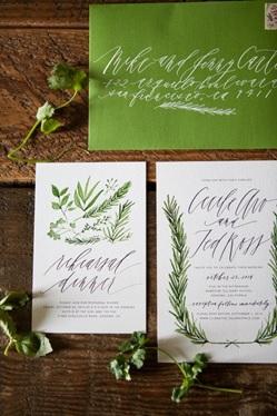 Botanical wedding invitation example 2