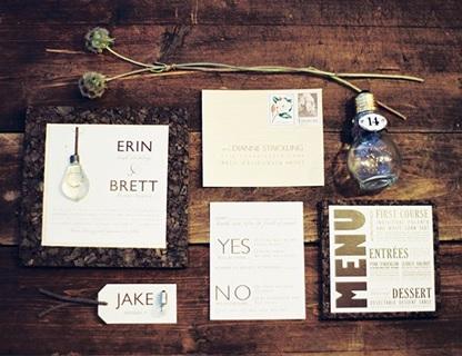 Industrial chic wedding invitation example 1