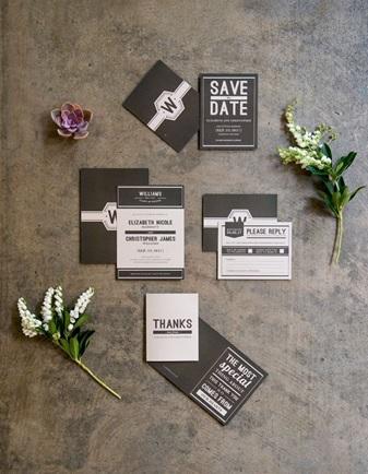 Industrial chic wedding invitation example 2