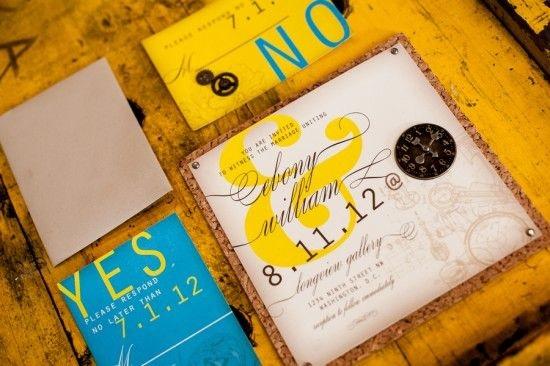 Industrial chic wedding invitation example 3