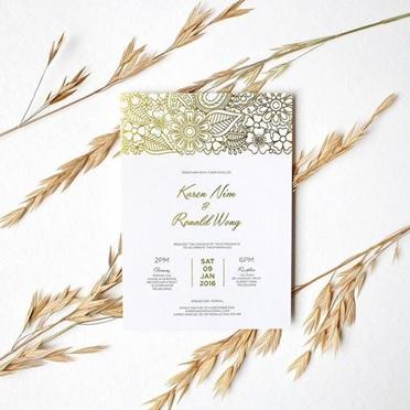 Gold foil wedding invitation example 1