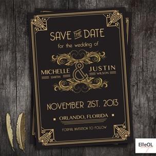 Art Deco wedding invitation example 1
