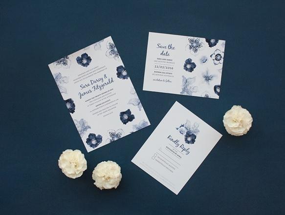 Floral Print Wedding Stationery