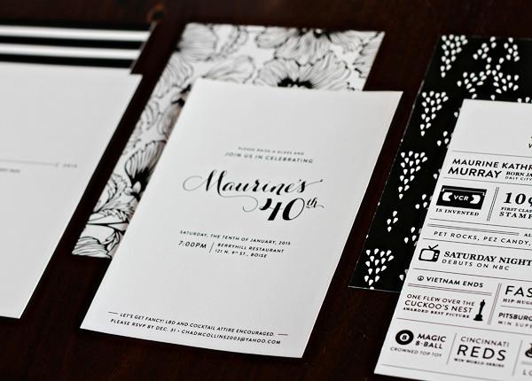 Bright Black and White Birthday Invitation