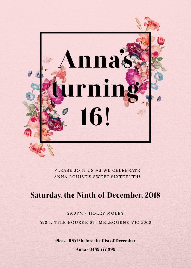 Floral Sweet Sixteen birthday invitation templates