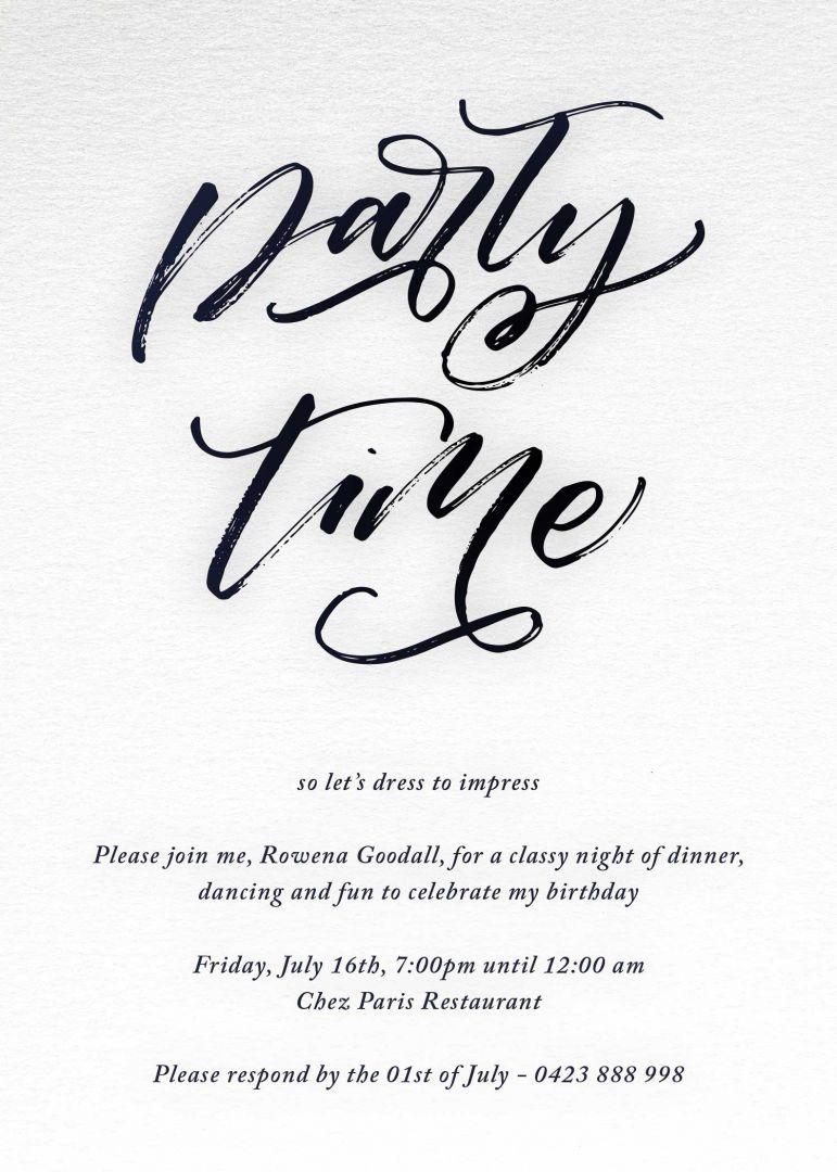 Party Time birthday invitation templates