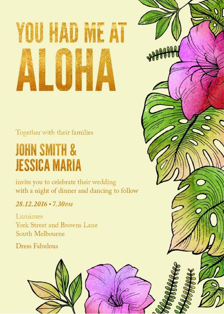Disney Wedding Invitations- Moana, or Lilo and Stitch