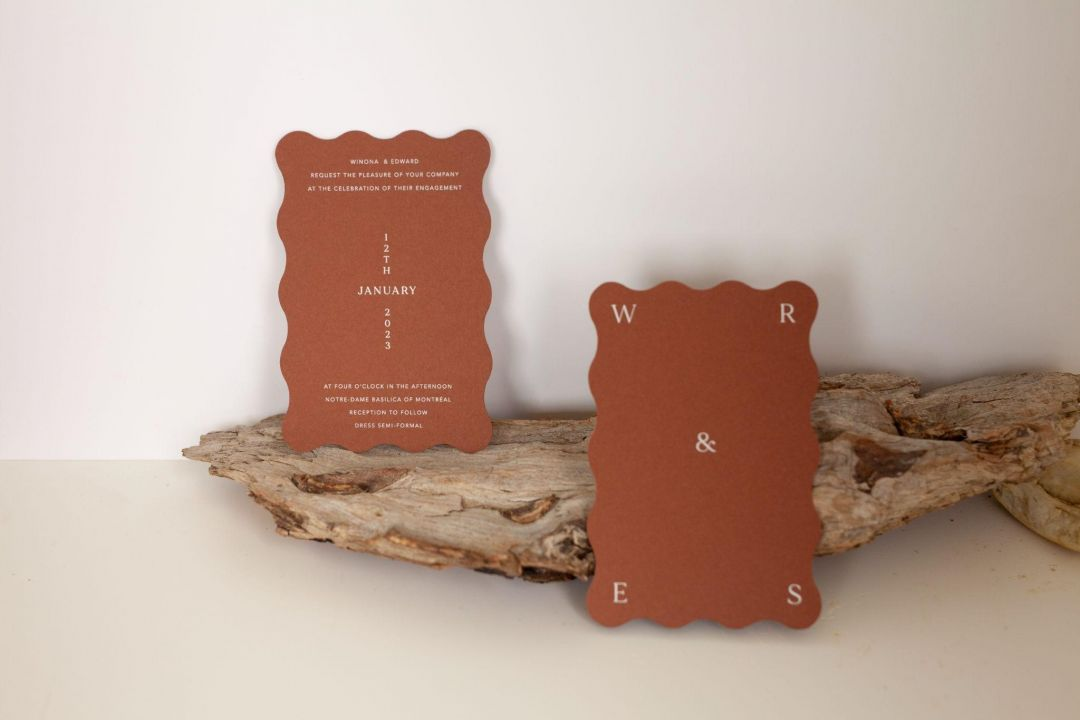 Earthy and natural color wedding invites