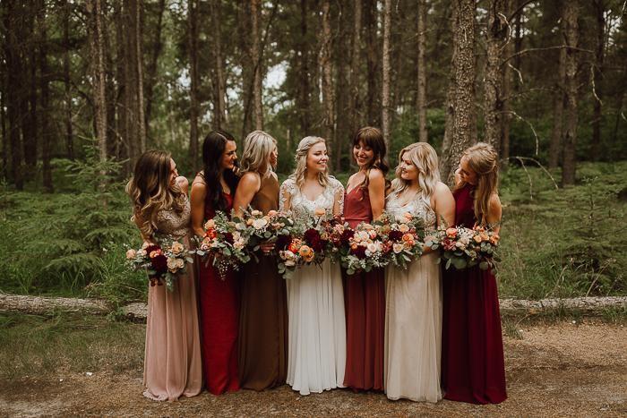 Warm hues bridesmaid dresses